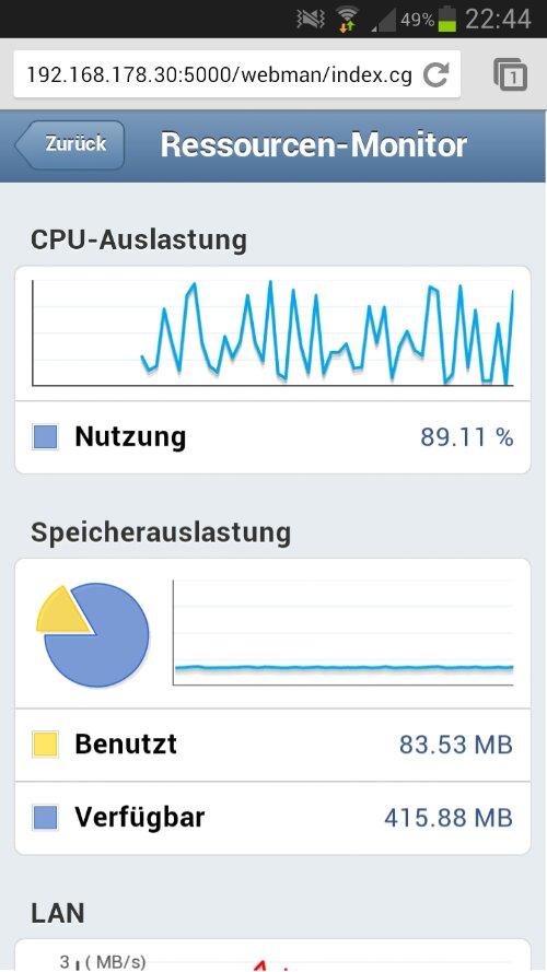Zustand der DS213 im mobilen Webinterface